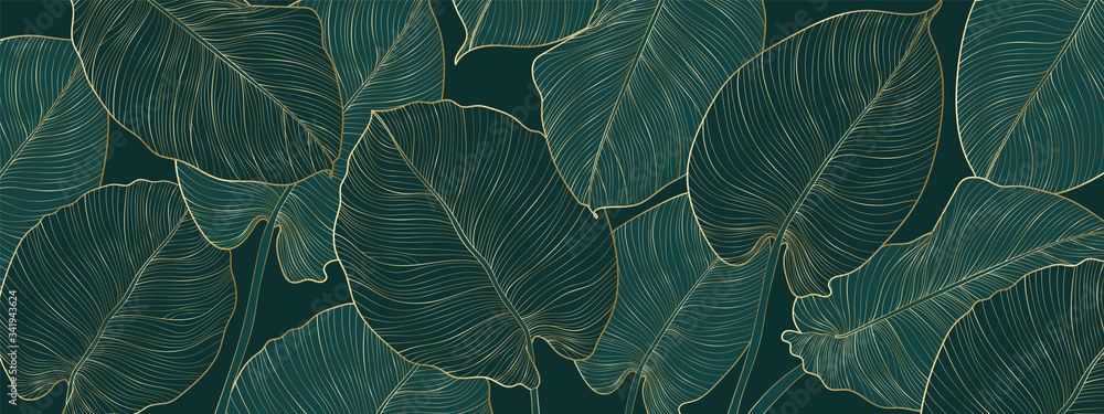 Fototapeta Luxury gold and nature green background vector. Floral pattern, Golden split-leaf Philodendron plant with monstera plant line arts, Vector illustration.