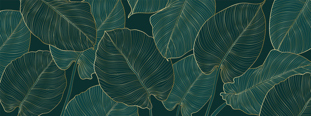 Panel Szklany Podświetlane Abstrakcja Luxury gold and nature green background vector. Floral pattern, Golden split-leaf Philodendron plant with monstera plant line arts, Vector illustration.