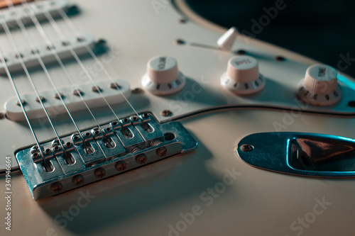 Electric guitar stratocaster closeup detail, macro abstract Canvas Print