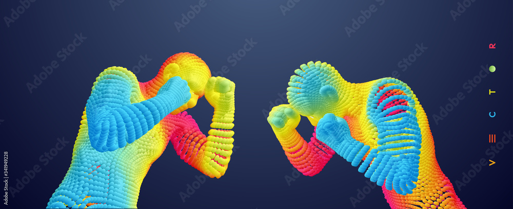Fototapeta Two boxer before a fight. Sport competition template. Vector illustration composed of particles.