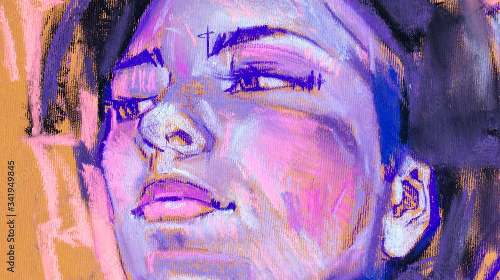 female portrait, pencil drawing illustration, sketch