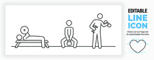 Editable Real Line Icon Set Of Stick Figure People Working Out In The Gym By Doing Muscle Exercises With A Dumbbell, Benchpress And Kettlebell In Full Body View In A Black Stroke As A Eps Vector File