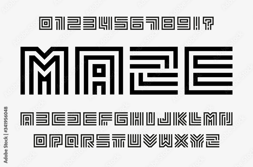 Fototapeta Linear labyrinth letters and numbers set. Line maze style alphabet. Contout geometric font, type for lineart logo and monogram concept. Outline vector typography design