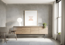 3d Grey Interior With Wood Sideboard With Stucco Concrete Wall And Am Art Frame