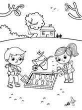 Black And White Drawing Of Two Kids Gardening. Coloring Page For Kids. Vector Illustration.