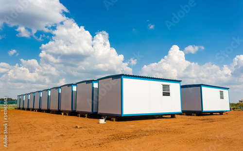 Obraz Relocatable portable buildings used as prefabricated offices on building sites and other amenities - fototapety do salonu