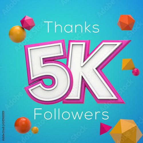 Fototapeta Thanks 5K followers. Social media subscribers banner. 3D render