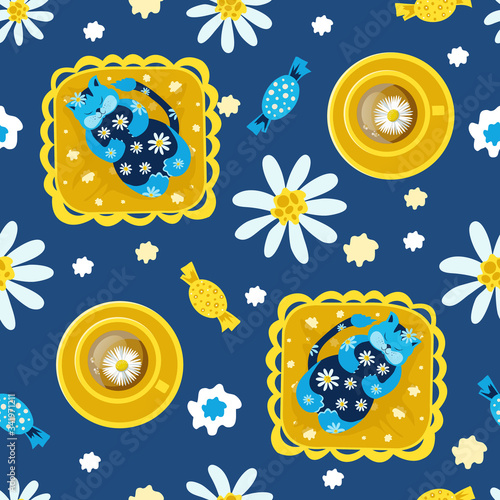 Seamless pattern with cats on the pillow and favorite tea with camomile. Concept of home comfort. Hand vector illustration in a flat style. Design of children's products, background, cover, wallpaper.