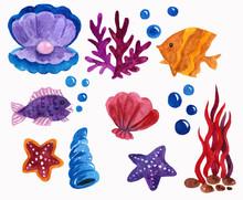 Watercolor Hand Painted Sea Se...