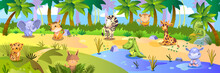 Vector Stock Jungle Background With Cute Tropical Animals: Leopard, Elephant, Tiger, Giraffe, Zebra, Hippo And Crocodile. Colorful Horizontal Landscape With Palm Trees, Sand And Lake.