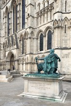 Statue Of Constantine The Great Against Historic Building