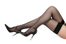 Long Slim Legs Of Woman In Bla...