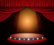 Background With Red Curtain, Podium And Spotlights. Design For Presentation, Concert, Show