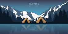 Camping Adventure By The Lake In The Wilderness At Snowy Mountains Vector Illustration EPS10