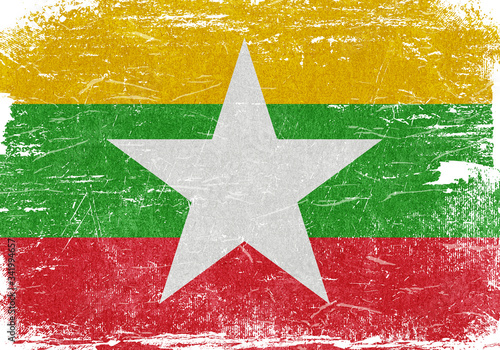 Myanmar, Myanmar Flag, Myanmar Flag Background, Myanmar Grunge Flag Background, Canvas Print