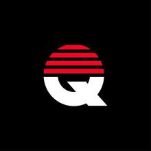 Red Lines Stripes Geometric Vector Logo Letter Q
