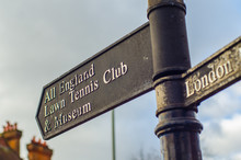 Signpost For Wimbledon's All England Lawn Tennis Club And Museum, The Home Of Tennis