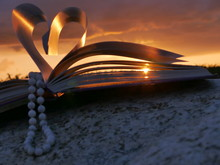 Close-up Of Heart Shape Made Of Pages Against Sky During Sunset