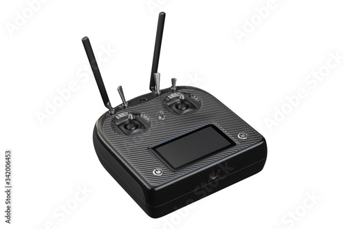 Fotografering 3d rendering of the remote transmitter control for the drone, isolated on white background with clipping paths