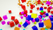 multicolored three-dimensional cubes scattered on a white background. 3d render illustration