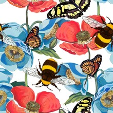Vector Seamless Pattern Of Red Poppy Flowers With Bumblebee, Insects, Butterflies, Bee Illustration. Bright Floral Background. International Bee Day. Modern Style. Creative Style