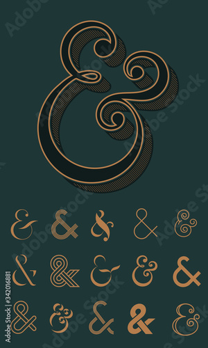Photo Ampersand, collection of different design icons and logos