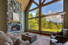 Beautiful Large Bright Country American Home Interiors Of Living Room