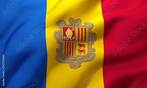 Photo Flag of Andorra blowing in the wind