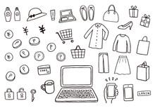 ネットショッピングにまつわる手描きイラスト