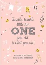 Twinkle, Twinkle, Little Star. One Year Birthday Printable Invitation Card