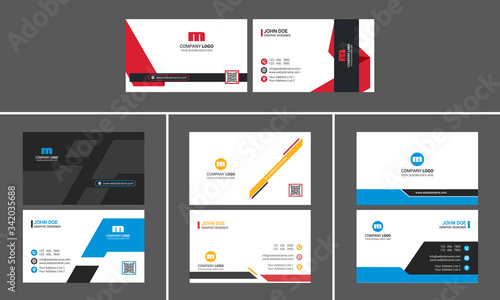 Corporate Business Card Design Set with Qr code placeholder Fototapeta