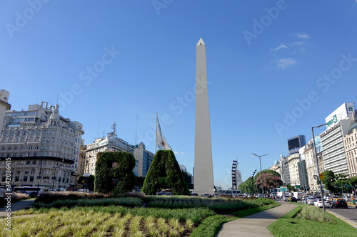 Fotografie, Obraz ARGENTINA - BUENOS AIRES - OBELISK WITH WRITING BA