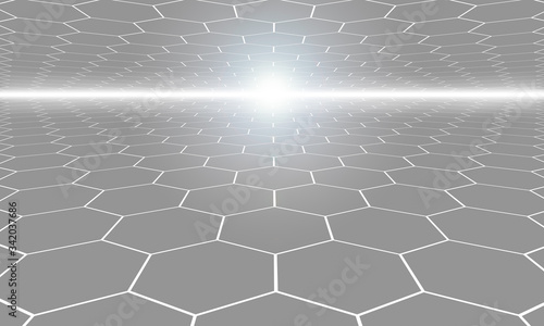 grey hexagon, technology, background, abstract connention, science technology ba Canvas Print