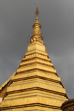 The Golden Chedi In Wat Phra That Chohae In Phrae Province, Northern Thailand.