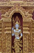 Deva Statue In Wat Phra That Chohae In Phrae Province, Northern Thailand.