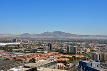 Las Vegas Cityscape Skyline Seen From The Eiffel Tower At The Paris Hotel And Casino Nevada USA