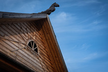 Old  Russian Wooden House Roof