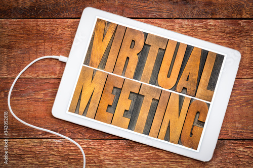 Fototapeta virtual meeting word abstract in wood type obraz