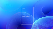 Abstract Background Blue Design. Fluid Flow Gradient With Geometric Lines And Light Effect. Motion Minimal Concept. Vector Illustration