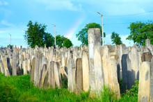 The Old Jewish Cemetery At Colorful Sunset Sky, Chernivtsi Ukraine.