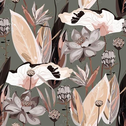 Tapeta różowa  large-flowers-inflorescences-buds-and-lotus-leaves-strelitzia-and-proteus-on-a-light-beige