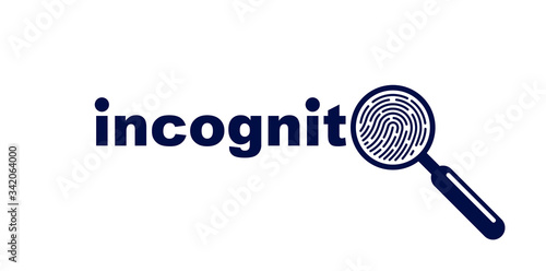 Finger print with magnifying glass vector simple logo or icon, incognito man concept, unidentified person, people search, biometric identification Canvas Print