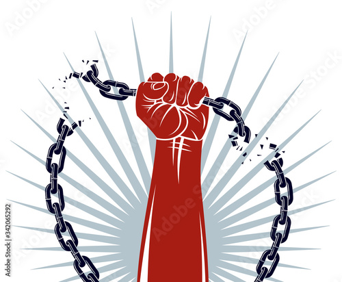 Slavery theme illustration with strong hand clenched fist fighting for freedom against chain, vector logo or tattoo, getting free, struggle for liberty Tableau sur Toile