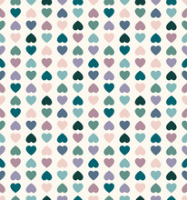 Seamless Vector Geometric Pattern With Colored Hearts. Romantic Background For Valentine Day, Woman Day Or Wedding. Stylish Modern Texture For Cards, Invitation, Print, Textile