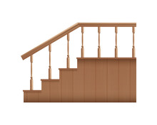 Template Of Wooden Stairs With Handrails Realistic Vector Illustration Isolated.