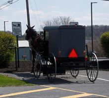 An Amish Buggy Parked At A Loc...