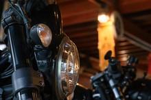 Close-up Ducati Black Triumph Of Shine Of The Motorbike Parts