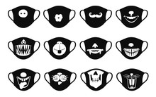 Medical Antiviral Masks Icons Set With Funny Faces Vector Illustration Isolated.