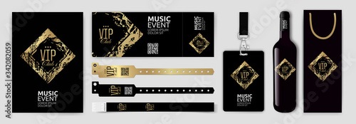 Fotografie, Obraz Set with design templates for VIP invitation, access bracelets, lanyard, ticket, wine bottle and wine packaging