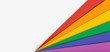 Rainbow flag banner background with copy space. Gay pride flag or LGBTQ pride flag. Photo of a Group of Colorful cardboard on white background